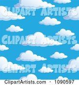 Seamless Colorful Puffy Cloud and Blue Sky Background