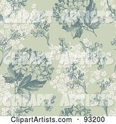 Seamless Green and White Hydrangea Hortensia Flower Background Pattern