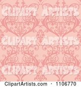 Seamless Pink Damask Background Pattern
