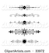 Set of Five Black and White Iron Cross and Skull Headers, Dividers, Banners or Lower Back Tattoo Designs