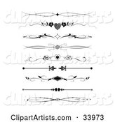 Set of Nine Black and White Diamond, Heart, Flower and Maple Leaf Headers, Dividers, Banners or Lower Back Tattoo Designs