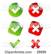 Set of Peeling Square and Circle Green and Red Check Mark and X Mark Stickers
