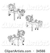 Set of Three Carousel Horses