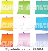 Set of Yellow, Green, Blue, Orange, White, Pink and Purple Blank Pieces of Note Paper Tacked to a Board