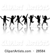 Seven Black Silhouetted Dancing Babies on White, with Reflections
