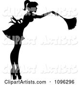 Sexy Black Silhouetted Fench Maid House Keeper or Housewife Cleaning with a Duster 2