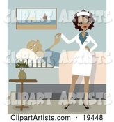 Sexy Ethnic Nurse Lady in Uniform, Standing Beside a Pleased Geriatric Senior Man That Is Lying in a Bed and Checking the Young Lady out in a Retirement Home