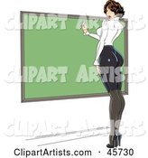 Sexy Pinup Female Teacher Wearing Tight Clothes and Writing on a Chalk Board