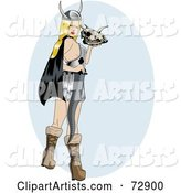 Sexy Pinup Viking Woman Holding a Skull and Sword