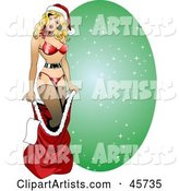 Sexy Pinup Woman in Lingerie, Emerging from Santas Red Sack