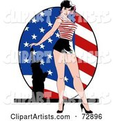 Sexy Pinup Woman Standing in Front of an American Flag