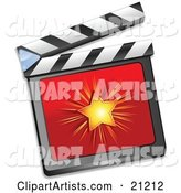 Shining Star on a Red Clapperboard, over a White Background