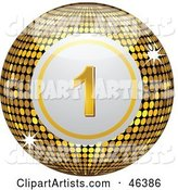 Shiny Golden Number One Disco Bingo Ball