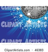 Shiny Silver Disco Ball with Stars on a Bursting Blue Background