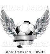 Shiny Soccer Ball with Silver Feathered Wings and a Blank Banner