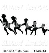 Silhouette Border of Children Following and Holding on