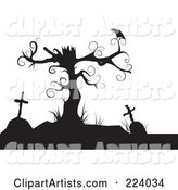 Silhouette of a Crow Perched on a Dead Tree over Tombstones