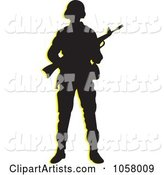 Silhouetted Armed Soldier