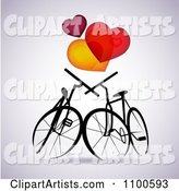 Silhouetted Bikes in Love Under Hearts on Gray