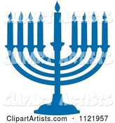 Silhouetted Blue Hanukkah Menorah with Lit Candles