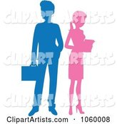 Silhouetted Business Man and Woman