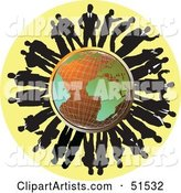 Silhouetted Corporate Businessmen Surrounding a Wire Globe