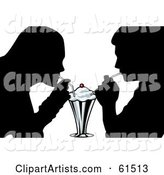 Silhouetted Couple Sharing a Milk Shake