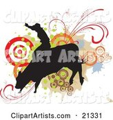Silhouetted Cowboy Holding onto the Back of a Bucking Rodeo Bull over a Target and Scroll Background