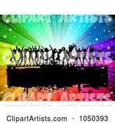 Silhouetted Dancers over a Grungy Black Bar on a Rainbow Burst