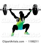Silhouetted Female Bodybuilder Lifting a Heavy Barbell and Wearing Gradient