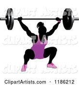 Silhouetted Female Bodybuilder Lifting a Heavy Barbell and Wearing Purple