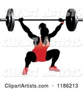 Silhouetted Female Bodybuilder Lifting a Heavy Barbell and Wearing Red