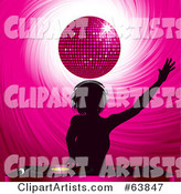 Silhouetted Female Dj Holding an Arm up and Mixing Records Under a Pink Disco Ball