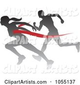 Silhouetted Female Runner Beating a Man to the Finish Line
