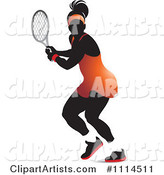 Silhouetted Female Tennis Player in an Orange Outfit