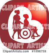 Silhouetted Nurse Helping an Elderly Woman in a Wheelchair Icon Button