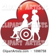 Silhouetted Nurse Helping an Elderly Woman in a Wheelchair on a Red Heart