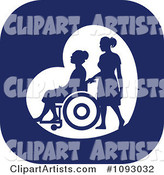 Silhouetted Nurse Helping an Elderly Woman in a Wheelchair over a Blue Square