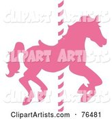 Silhouetted Pink Carousel Horse on a Pole