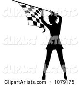 Silhouetted Speedway Woman Holding a Checkered Flag