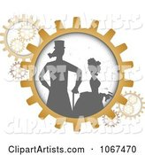 Silhouetted Steampunk Couple in Gears