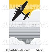 Silhouetted World War II Bomber Flying Through Clouds in a Yellow Sky