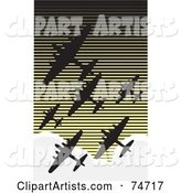 Silhouetted World War II Military Bomber Fleet of over a Retro Sky