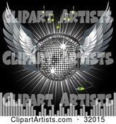 Silver Disco Ball with Wings and Headphones, over a Black Background with a Burst of Light, Green Music Notes and Equalizer Bars
