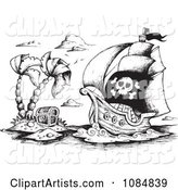 Sketched Drawing of a Pirate Ship and Treasure Island