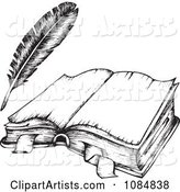 Sketched Drawing of an Open Book and Feather Quill