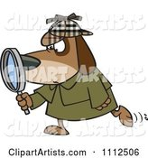 Sleuth Dog Using a Magnifying Glass