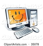 Smiley Face on a Desktop Computer Screen