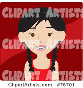Smiling Asian Girl Avatar with Braces