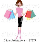 Smiling Slender Caucasian Woman in Pink Boots, a Pink Shirt and Pencil Skirt, Holding Colorful Shopping Bags
